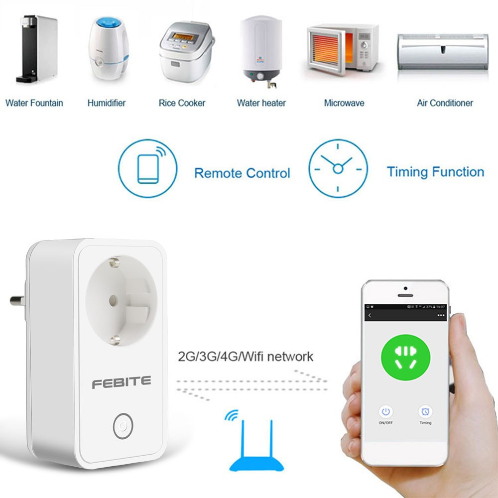 FEBITE FBE1 10A WiFi Smart Socket EU Plug Support Smartphone Remote Control & Timing Switch Works with Amazon Alexa & Google Home