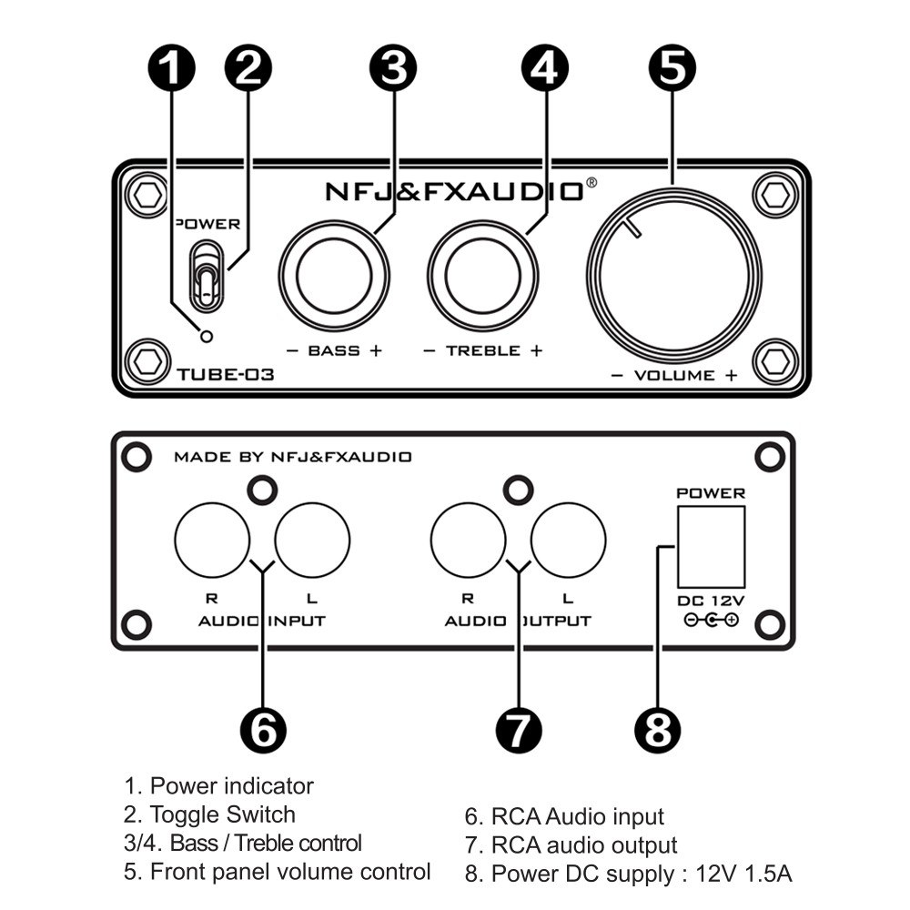 FX-AUDIO TUBE-03 Mini HiFi Audio Preamplifier