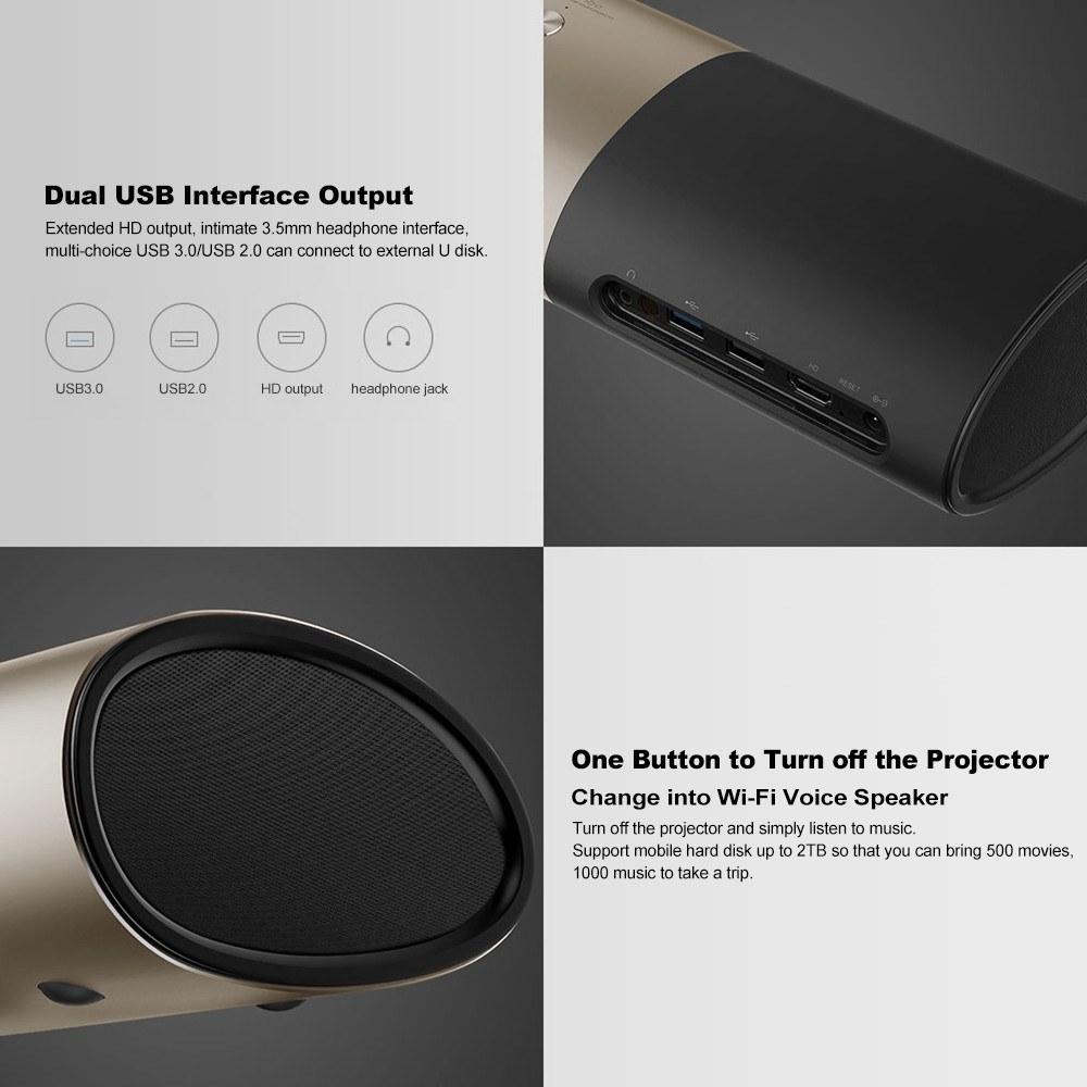 Wanbo P5 Mini Portable DLP Projector Home Theatre with Voice Remote 1080P  Support 4K 3D Sales Online eu - Tomtop