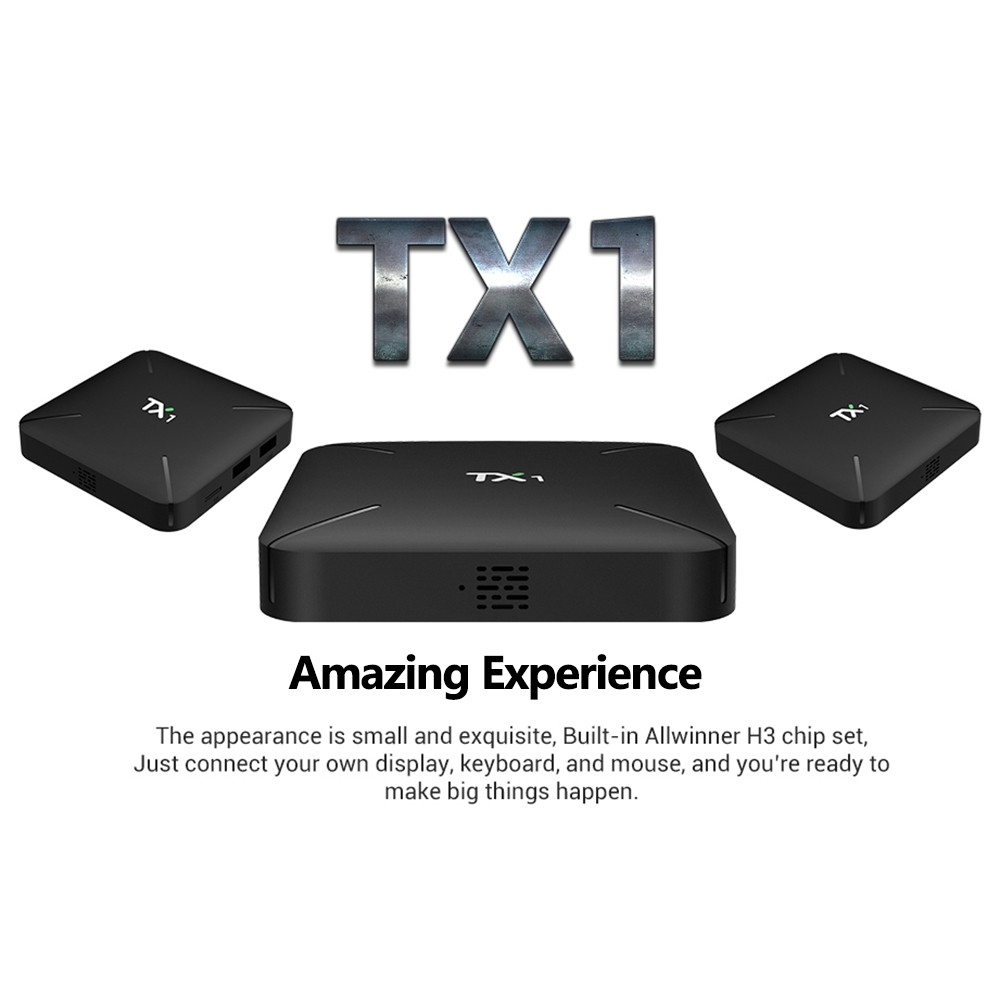 TX1 Android 7.1 TV Box 1G / 8G – Quad core  UHD 4K Home Theater Support H.265 3D Video WiFi LAN DLNA 1080P HD Multimedia Player