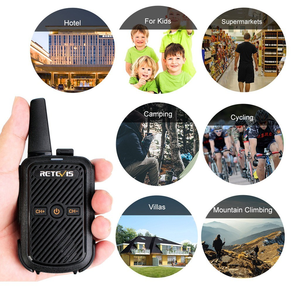 Retevis RT15 Portable Walkie Talkie UHF 400-470MHz 16-Channel 2-Way Radio  CTCSS/DCS TOT VOX Scan Intercom Speakers Mic
