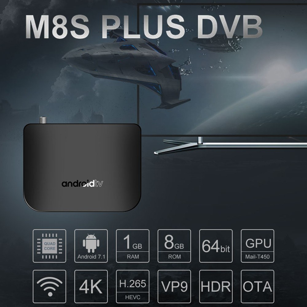 MECOOL M8S PLUS DVB Android TV BOX + DVB-S/S2/S2X Set-top Box Android 7 1  Amlogic S905D Quad-core 1GB+8GB 4K WiFi LAN H 265 Airplay Miracast HD Media