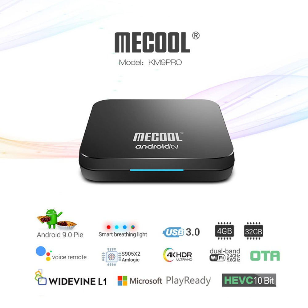 MECOOL KM9 Pro Smart Android 9 0 TV Box Media Player Amlogic S905X2  4GB+32GB Dual Wifi Bluetooth 4 0 Voice Remote Control Miracast Airplay