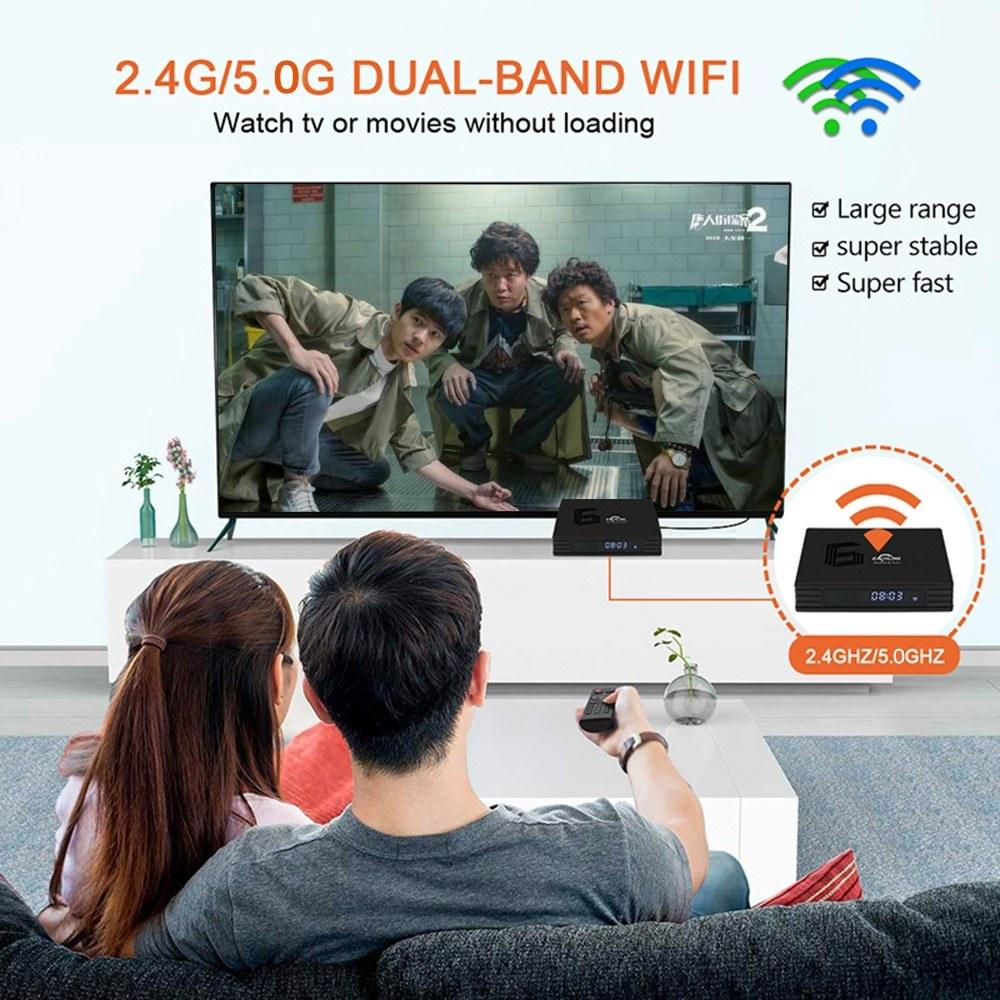EACHLINK H6 MAX Android 9 0 Smart TV Box Allwinner H6 Quad-core 64 Bit 4K  Media Player 6K HDR H 265 4GB / 64GB 2 4G / 5G WiFi LAN BT4 1 LCD Display