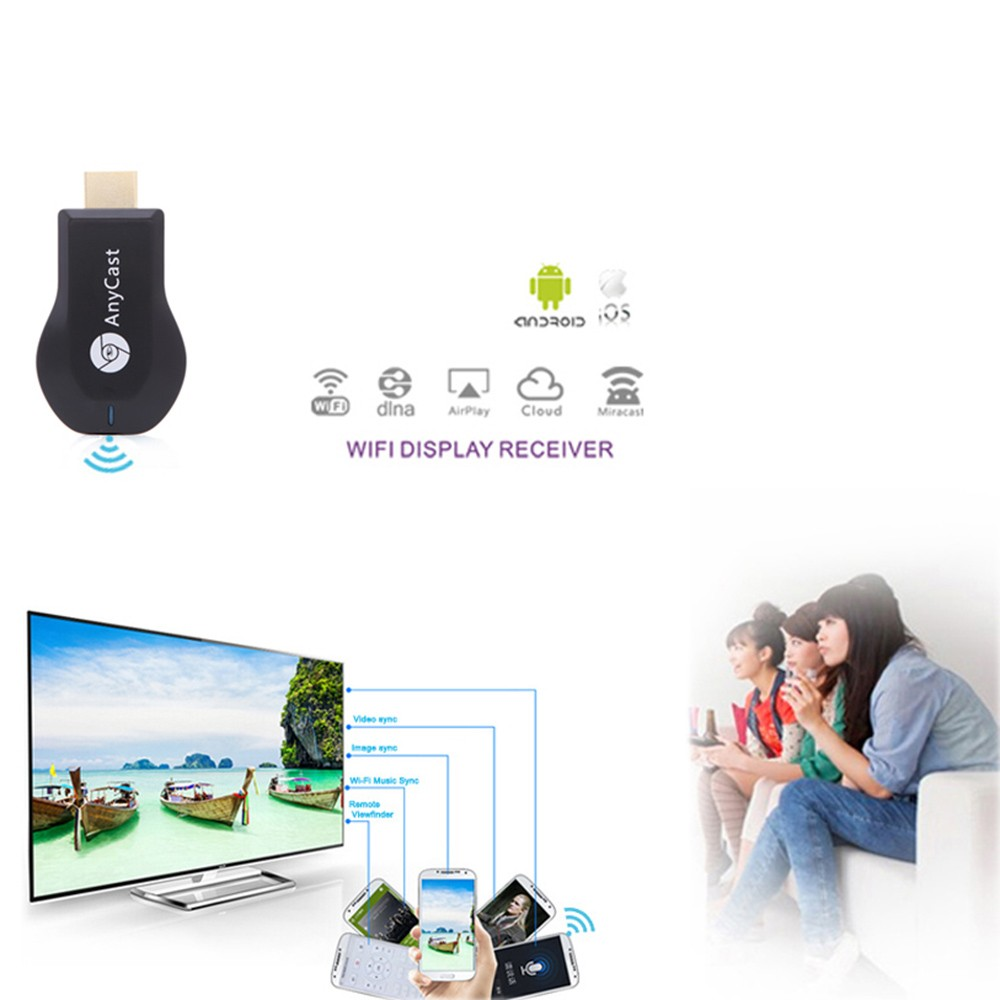 AnyCast M2 Plus Mini Wi-Fi Display Dongle Receiver 1080P Airmirror DLNA  Airplay Miracast Easy Sharing HD Port for HDTV Smart Phones Notebook Tablet  PC