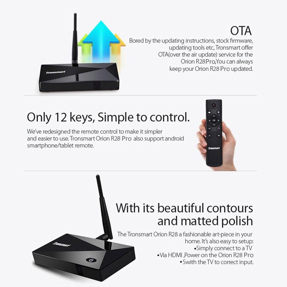 Tronsmart Orion R28 PRO Android 4 4 TV Box RK3288 Quad-core Cortex-A17  1 8GHz 2G / 8G XBMC HD 5 0G / 2 4G Dual Band WiFi Supports BT 4 0 OTA & OTG