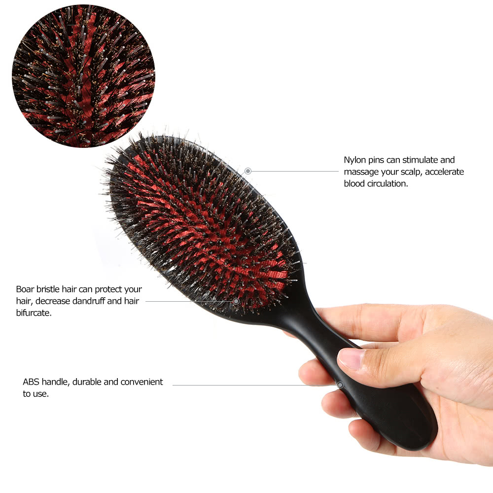 Boar Bristle & Nylon Hair Brush Oval Anti-static Paddle Comb Scalp Massage  Hair Care Tool