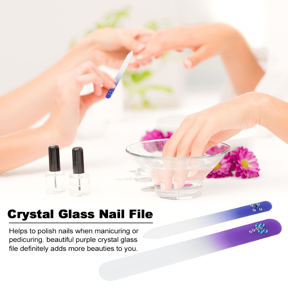 2 Pcs Nail File Crystal Glass Manicure File Nail Buffer for Natural ...