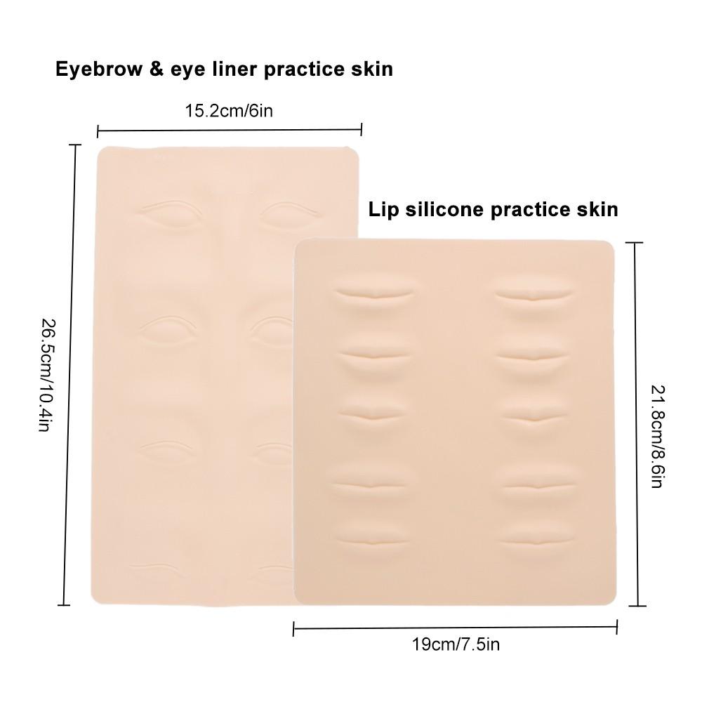 2pcs Microblading Tattoo Practice Skin Eyebrows Lips Permanent