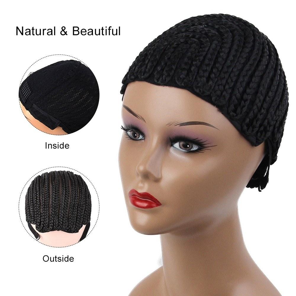Adjustable Black Wig Caps Braided Crochet Wig Caps Cornrow For