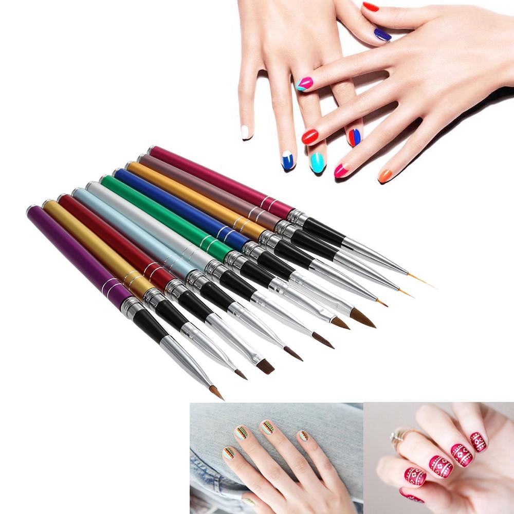 Professional 10pcs Nail Art Design Polish Brush Pen Set Nylon Uv Gel