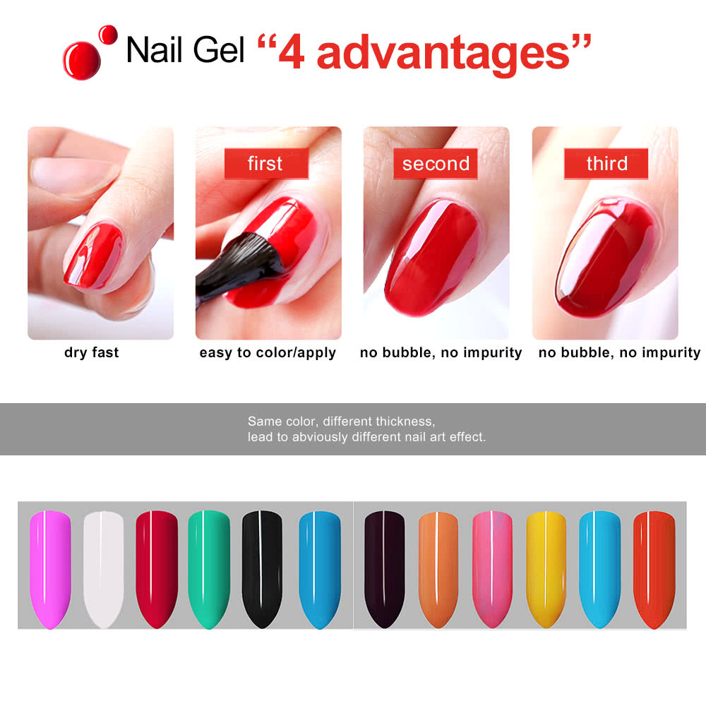 Anself 12pcs Mix Pure Colors UV Nail Gel Polish Extension ...