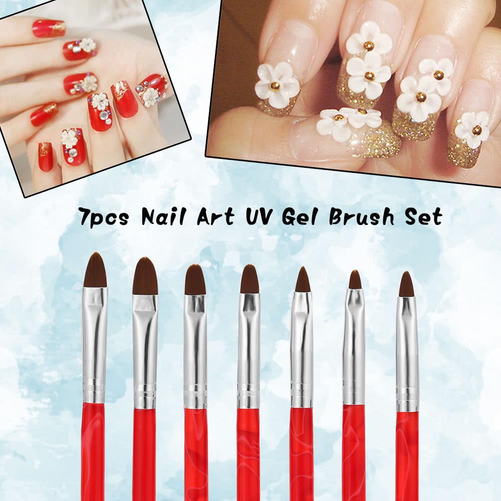Bqan 7pcs Professional Uv Gel Brush Set Nail Art Painting Brush Pen