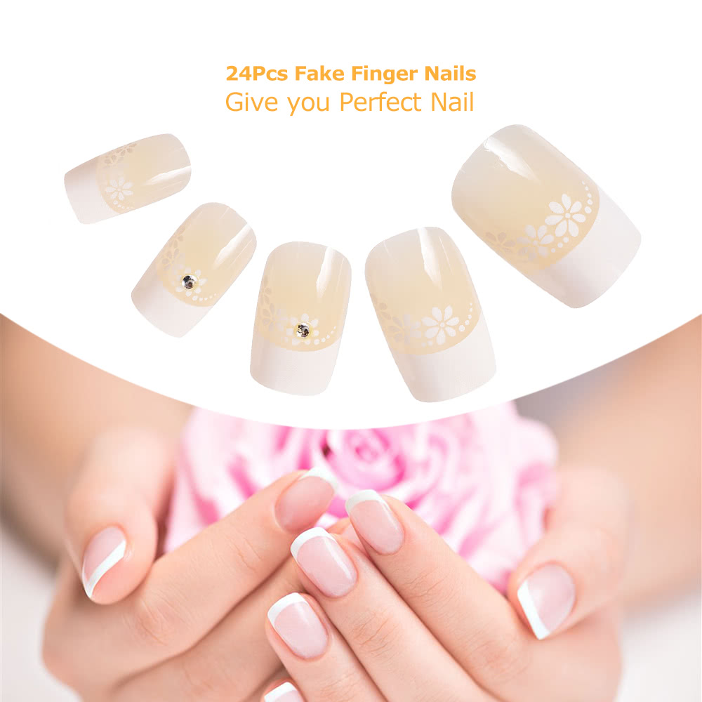 24Pcs Fake Fingernail Tips French Art Full Cover False Finger Nail ...