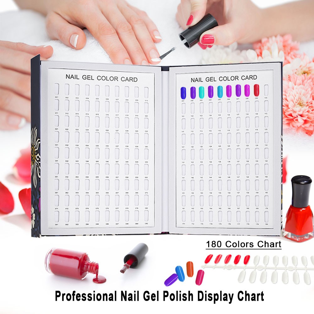 Professional 180 Colors Nail Gel Polish Display Chart Color Card Board Art Salon Set