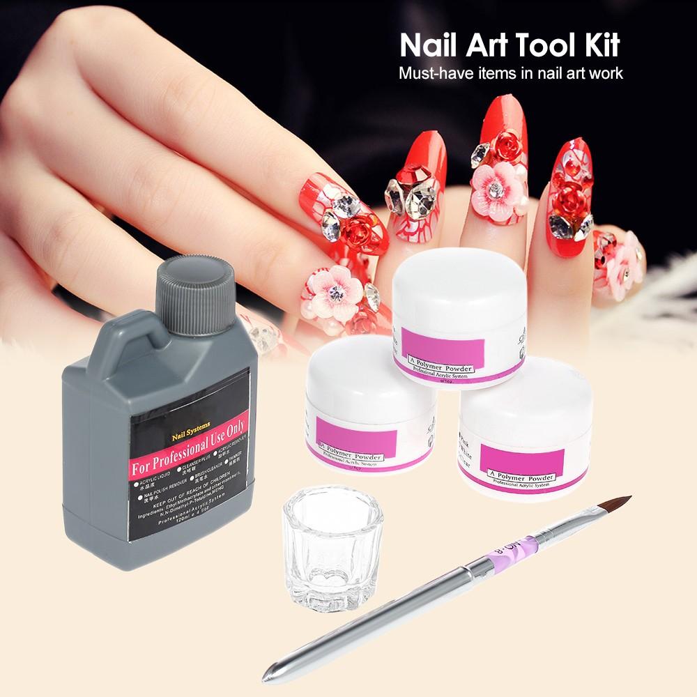 Nail Art Tools Diy Kit Professional Nail Acrylic Liquid 3pcs Powder