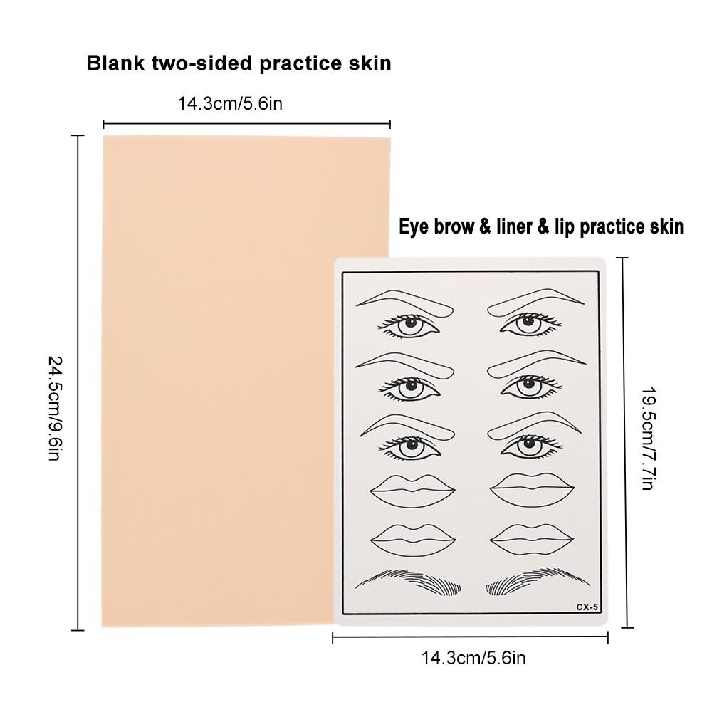 2pcs Facial Microblading Tattoo Practice Skin Eyebrows Lips