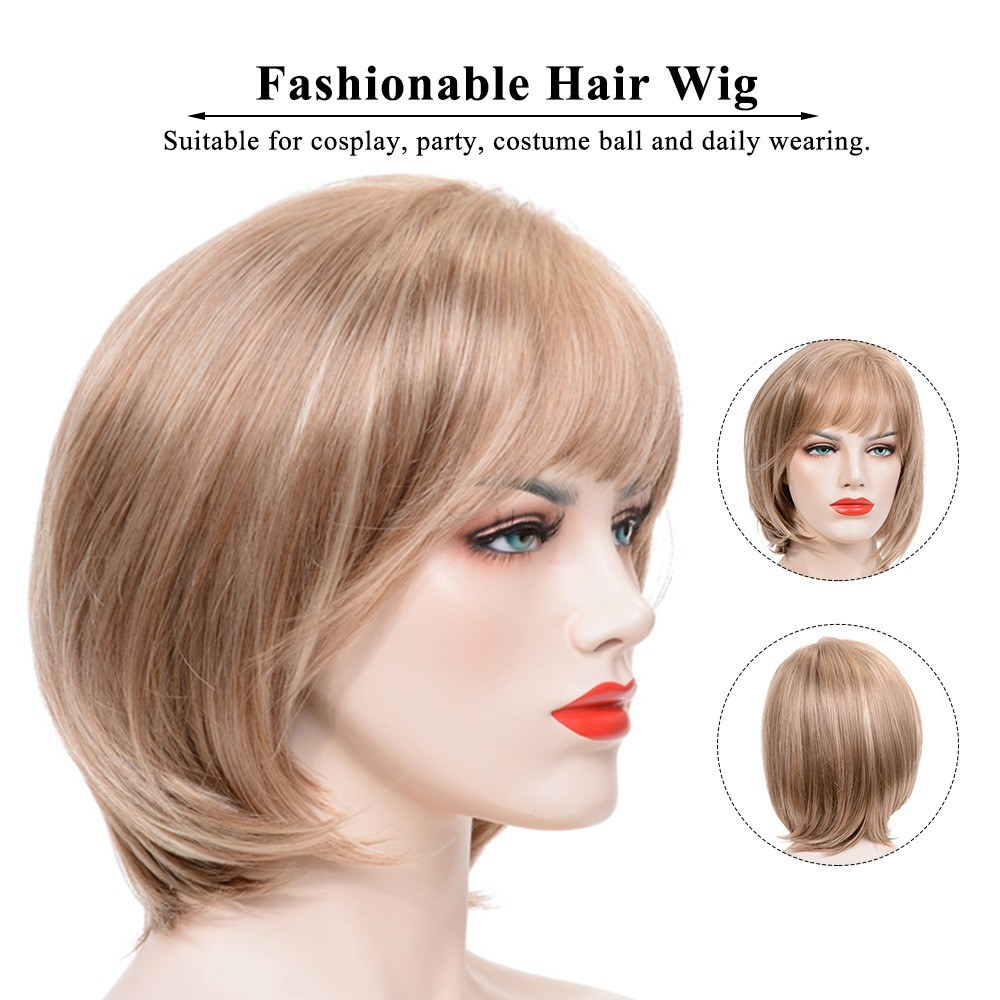 Fashionable Hair Wig Woman Short Straight Hair With Bangs Girl