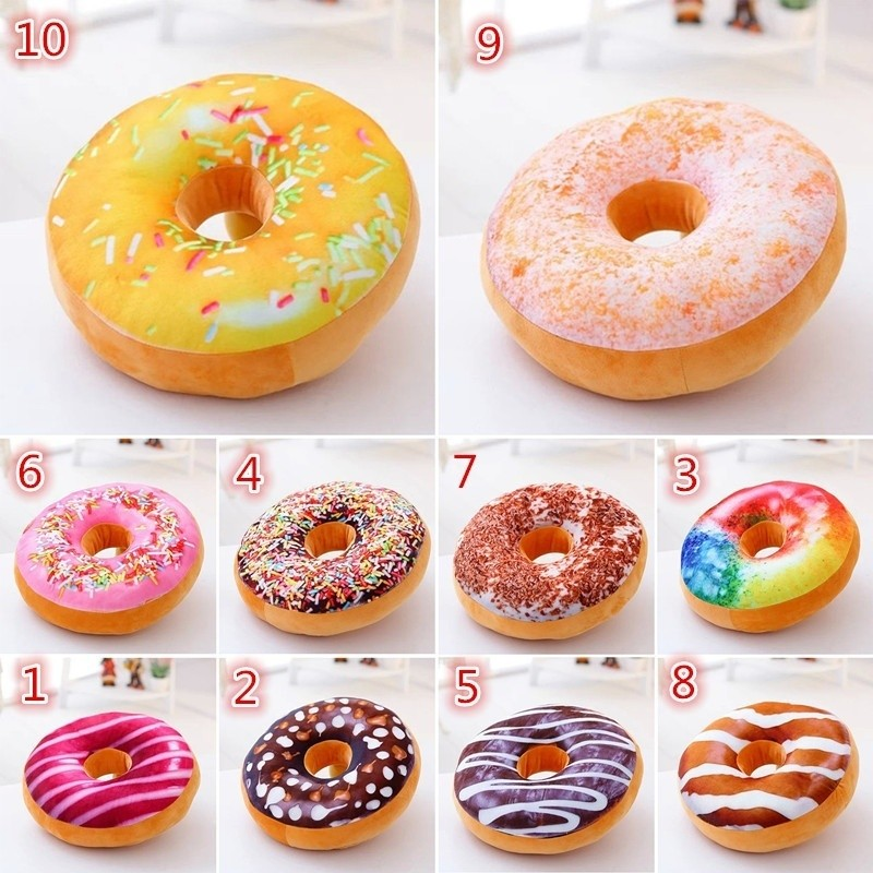 3D Creative Plush Donut Food Pillows Stuffed Toys Dolls Funny Cartoon Donuts  Pillow Cover Plush Sweet Chocolates Sofa And Chair Back Cushions Car Mats  Sales ...