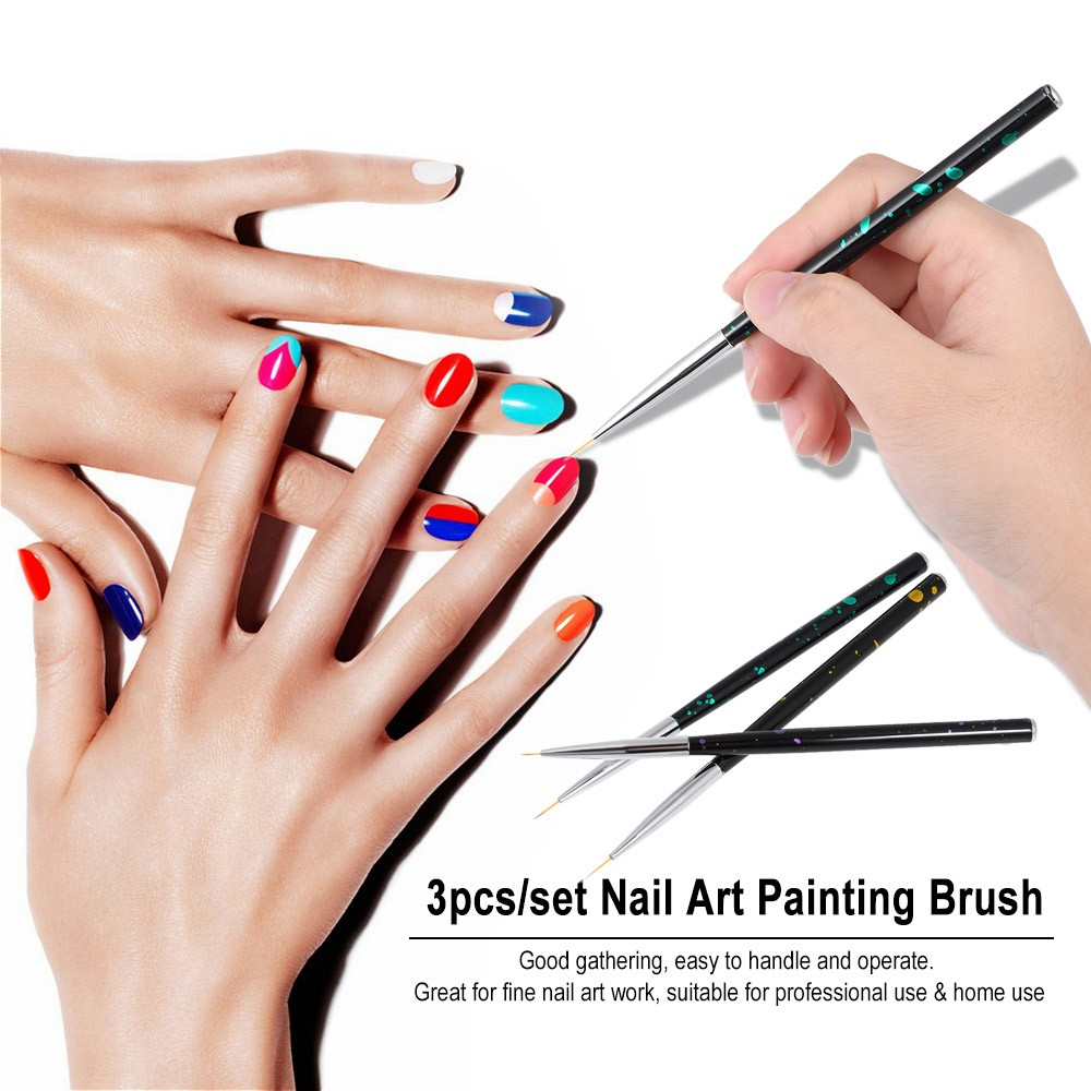 3pcs/set Nail Art Painting Brush 5/7/10mm Acrylic Nail Art Painting ...