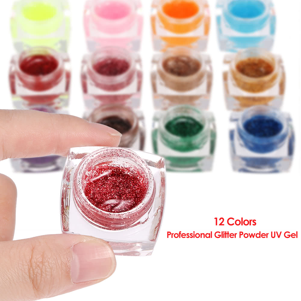 12 Colors Professional Glitter Powder UV Gel Nail Art Gel Polish ...