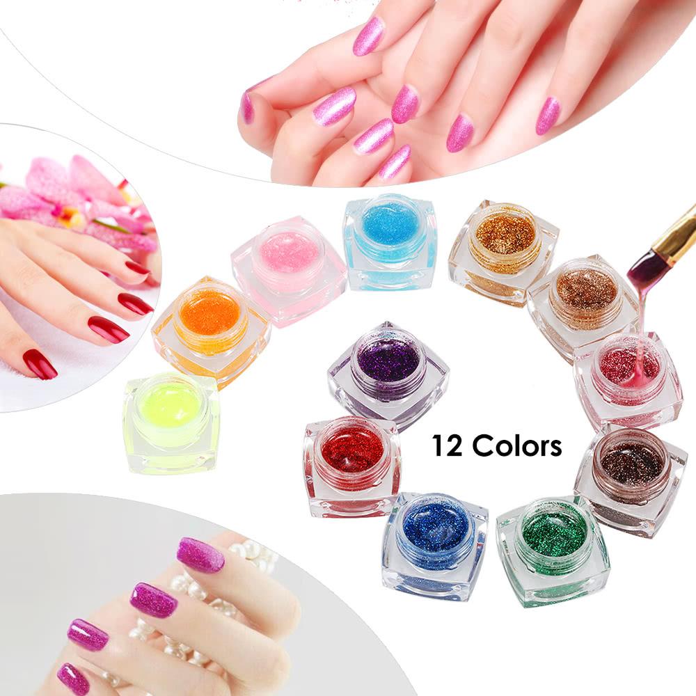 12 Colors Professional Glitter Powder Uv Gel Nail Art Gel Polish