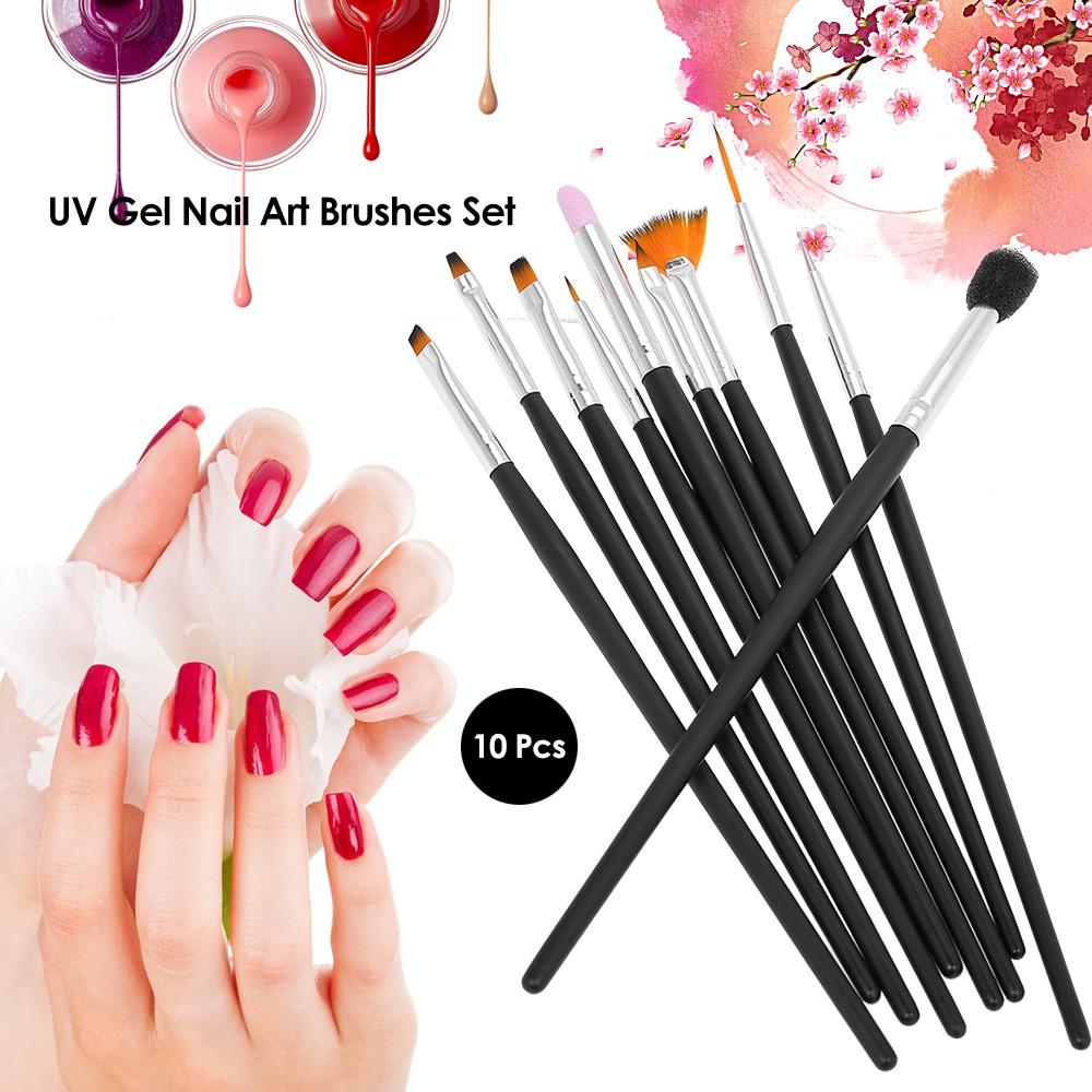10 Pcs Nail Art Brush Set UV Gel Brush Nail Carving Sculpture ...