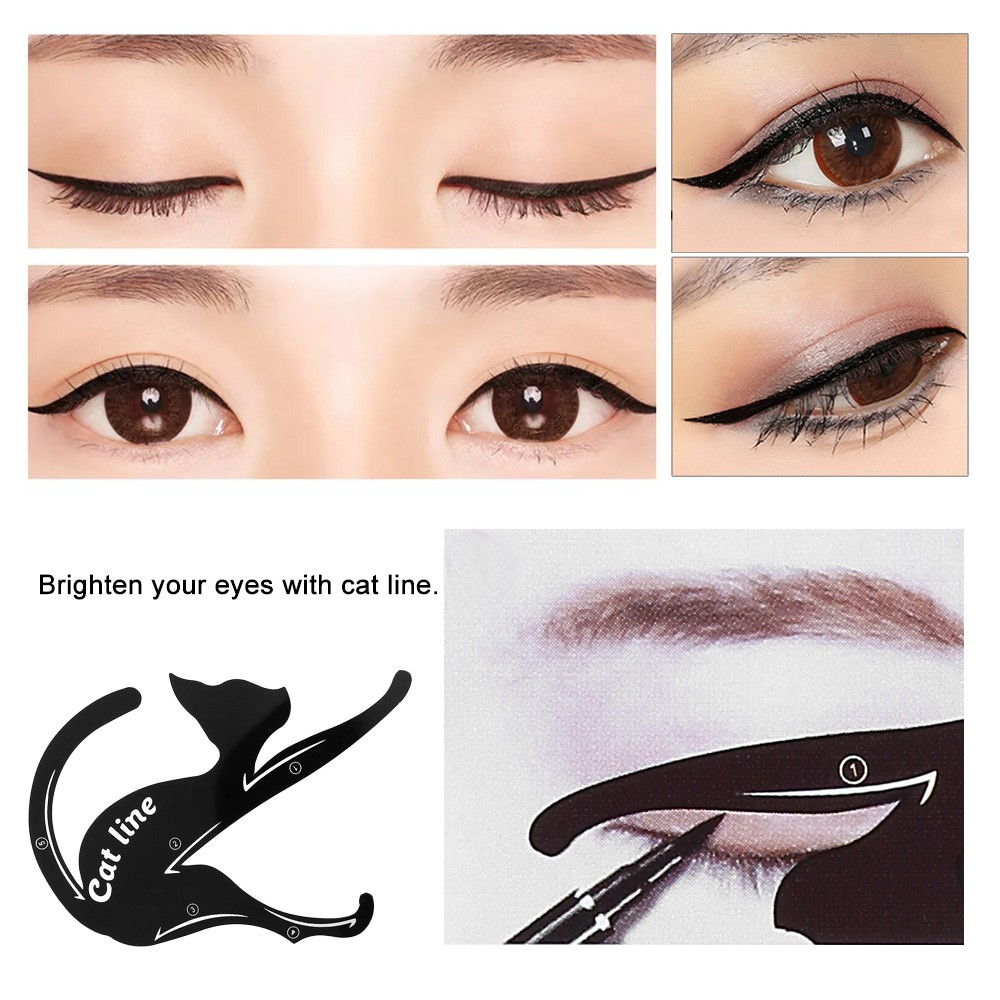 Pcspack Cat Line Stencils Cards Eye Makeup Tool Eyeliner Eyeshadow - Eyeshadow template