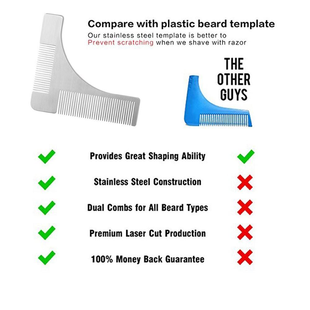 Stainless Steel Beard Comb Beard Shaping Brush Beard