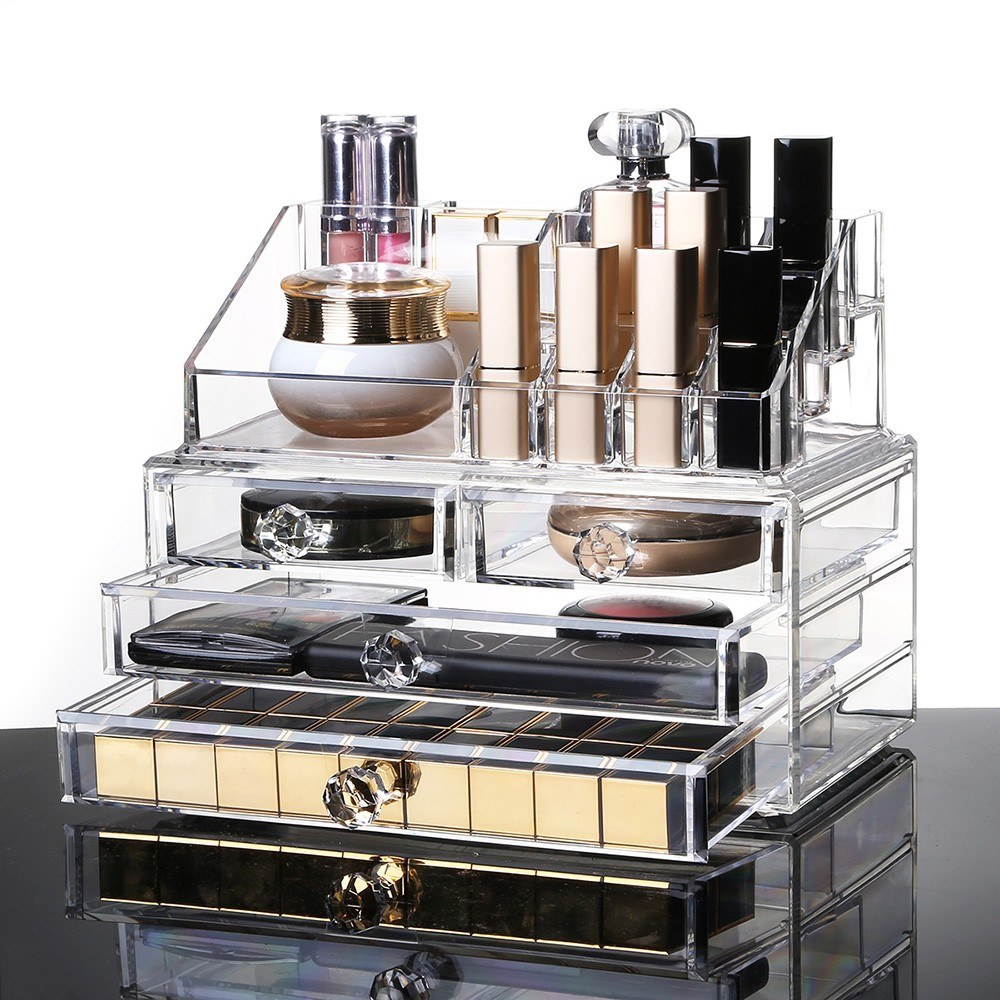Large Capacity Acrylic Storage Box Cosmetic Jewelry Drawer Fashion Transparent Makeup Tool Organizer