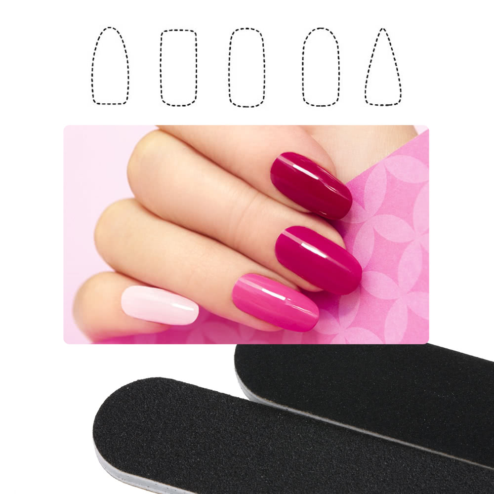 5pcs Black Nail Files Double Sided Nail Sanding Buffer Kit Manicure ...