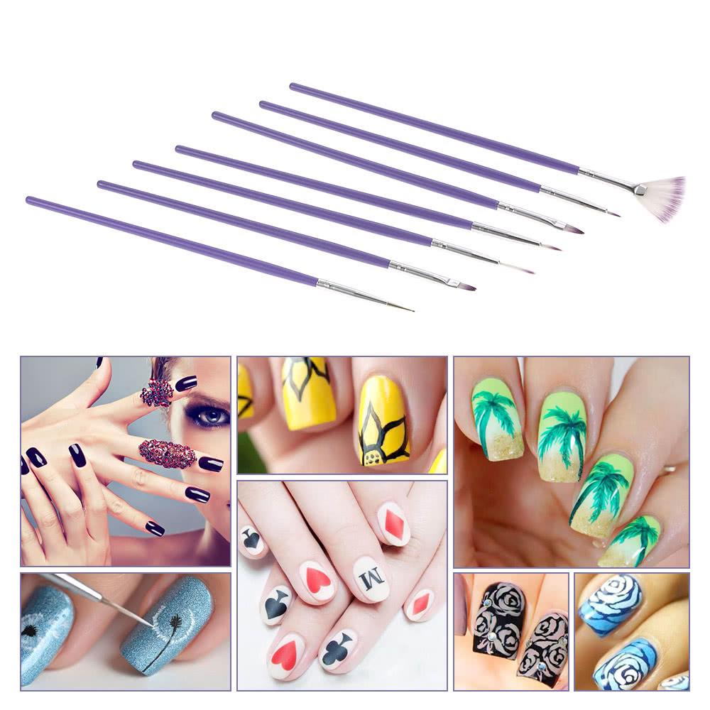 7pcs Purple Nail Art Design Brush Set Acrylic Nail Pen Brush For