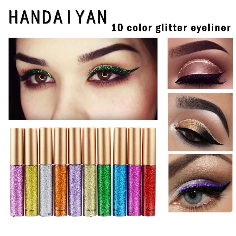 10 Colors Glitters Eyeliner Makeup Women Shiny Long Lasting Eye Lt Pro Pencil Waterproof Liner Cosmetic Eyeshadow Tool Shimmer Pigment Liquid Handaiyan