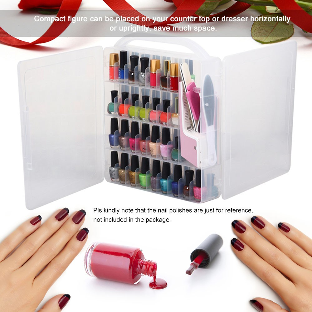 Professional Nail Polish Organizer Double-side Holder for 60 Bottles ...