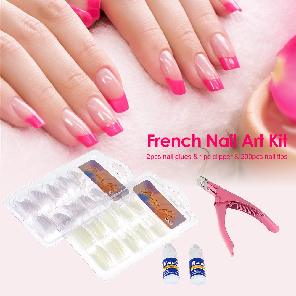 200pcs Acrylic French Tips Nail Art Glue Cutter Clipper Manicures ...