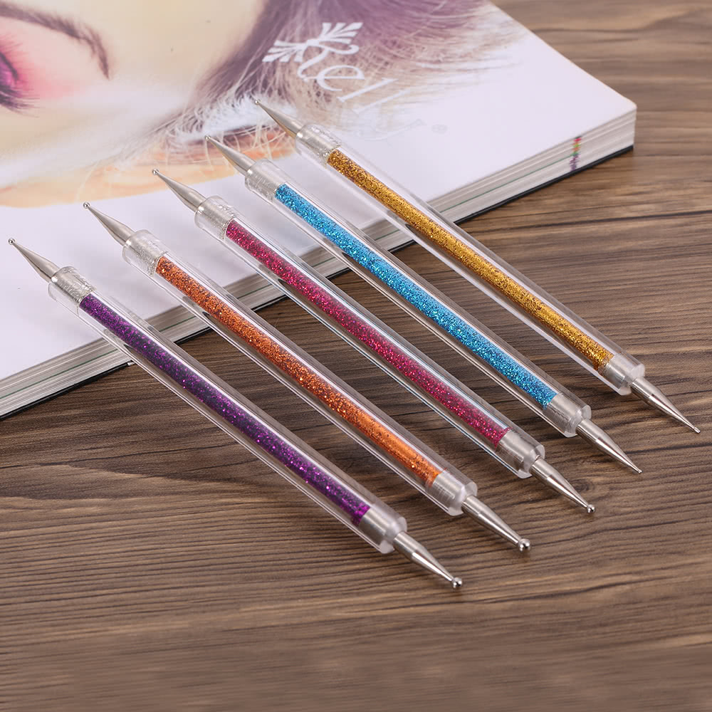 Bqan 5pcs set 2 way nail art dotting painting pen double for Set painting techniques