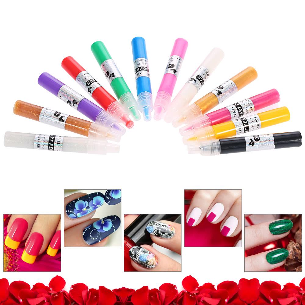 12 s igkeit farben nagel 3d kunst farben zeichnungs feder sch ne nagellack feder nagel kunst. Black Bedroom Furniture Sets. Home Design Ideas