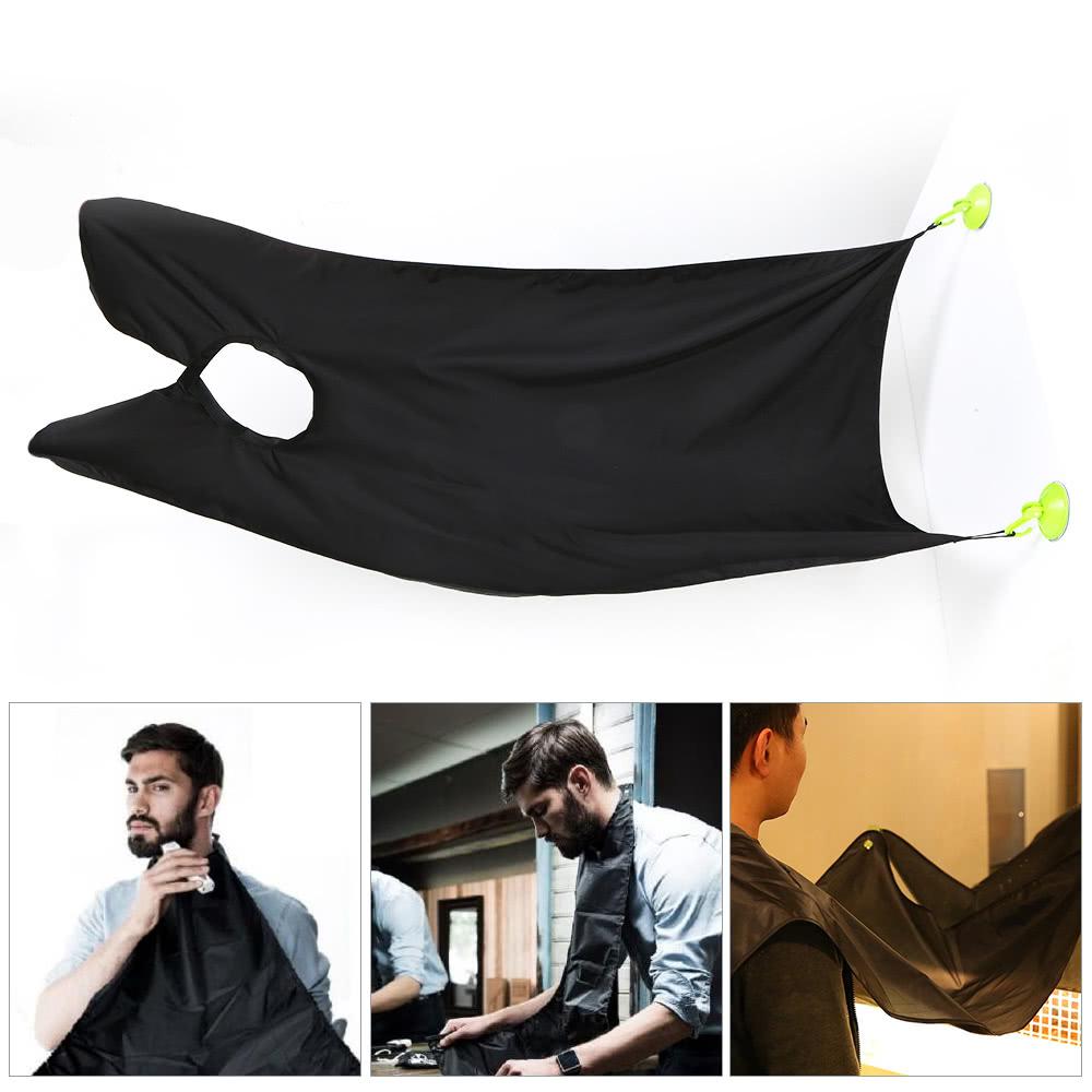 homme barbe catcher tablier de coupe des cheveux rasage haircutting cape cloth 2 ventouses noir. Black Bedroom Furniture Sets. Home Design Ideas