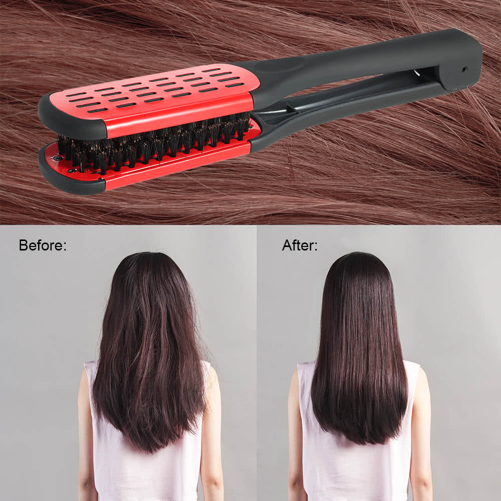 Hair Straightening Comb Double Sided Bristle Hair Brush