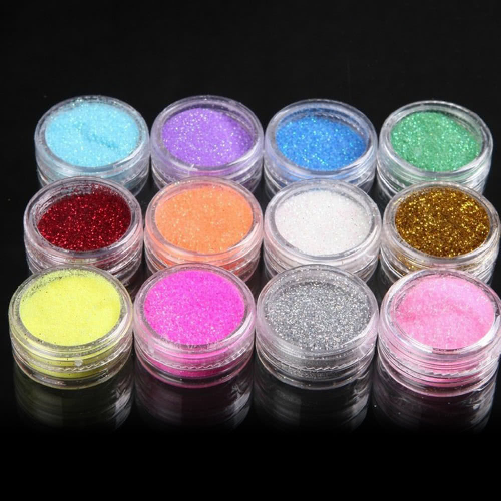 12 colors glitter dust powder set for nail art tips for Arts and crafts glitter