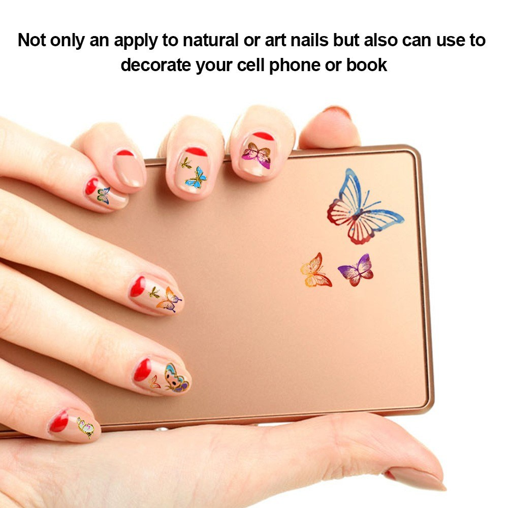 24 Sheets Multistyle Nail Art Decorations Butterfly 3D Stickers Gel ...