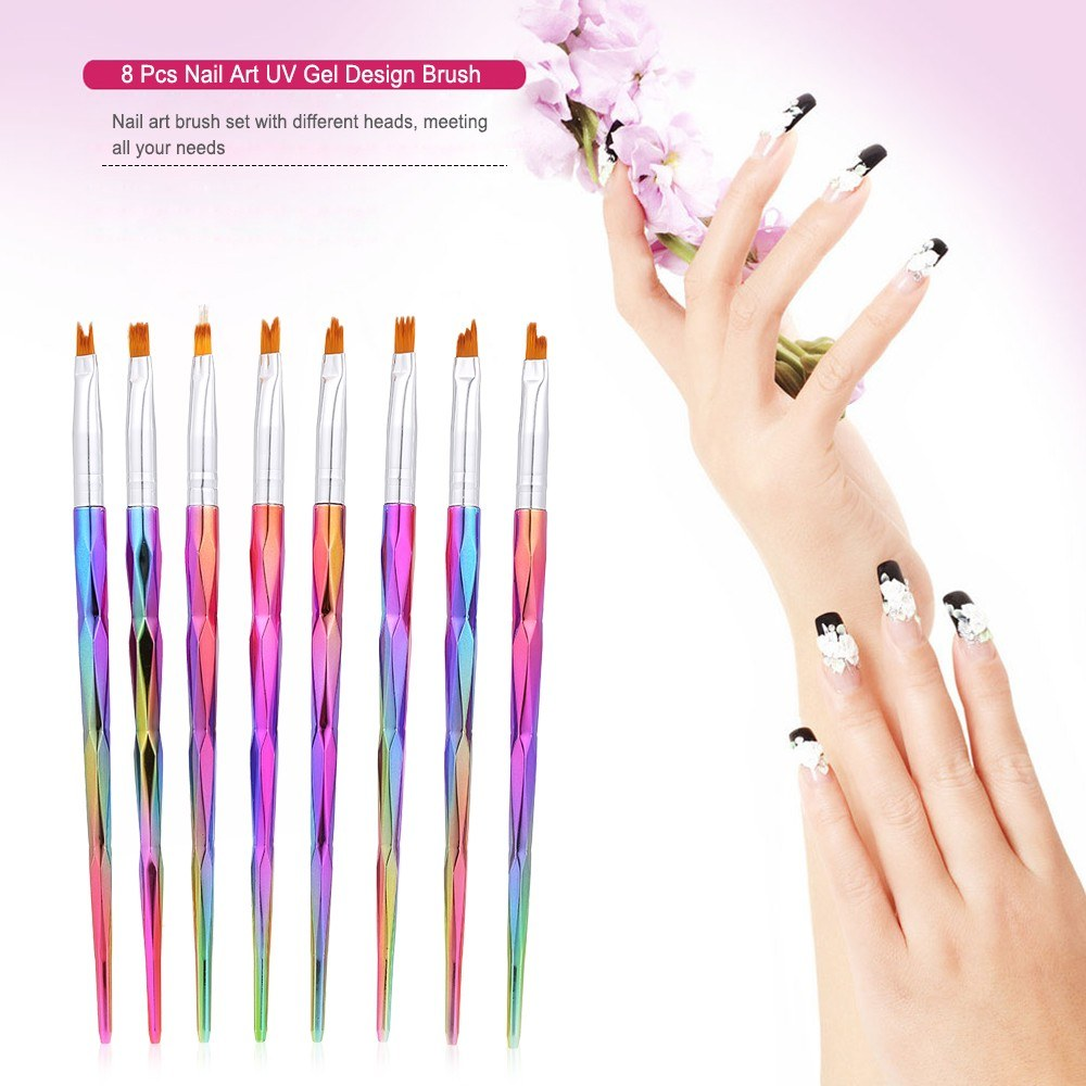 8 Pcs/Set Nail Art Design Brush Professional Tool Kit Paint Pen For ...
