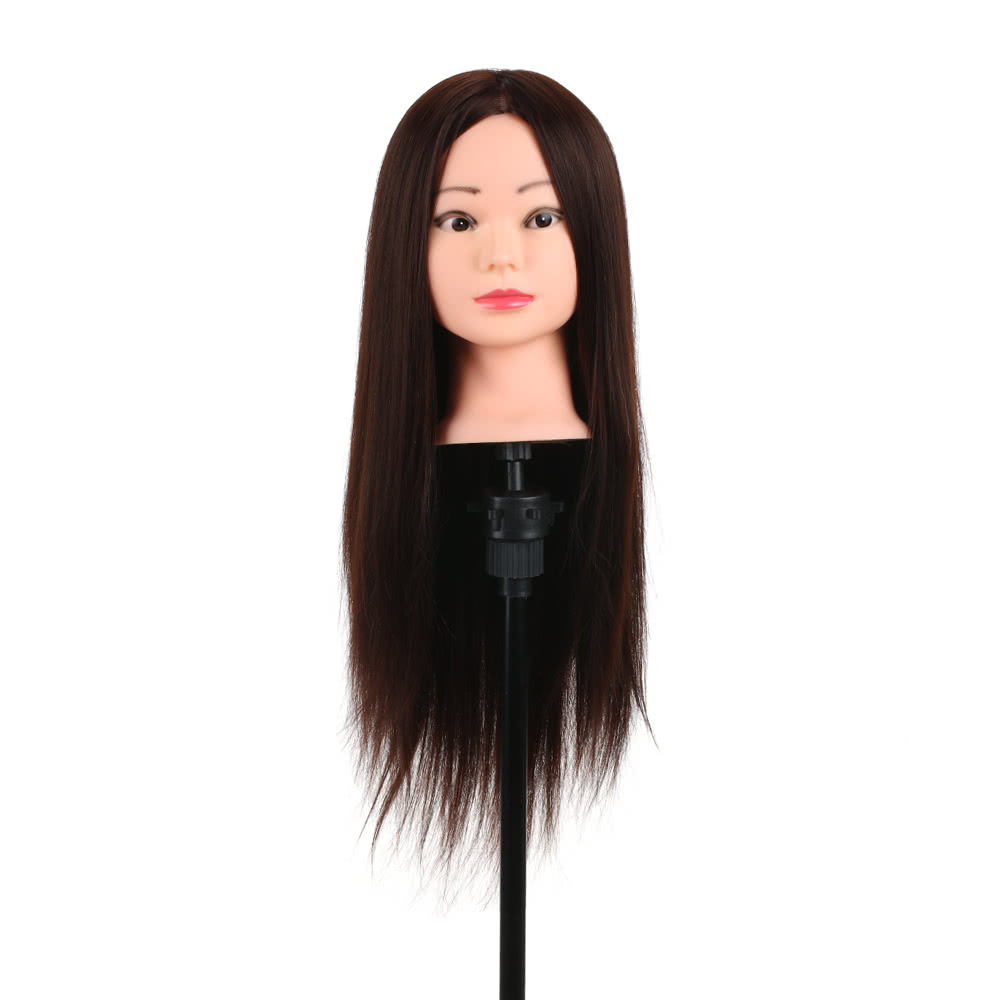 Training Head 80 Real Human Hair Manikin Hairdressing Dummy Salon Clamp Holder For Practice