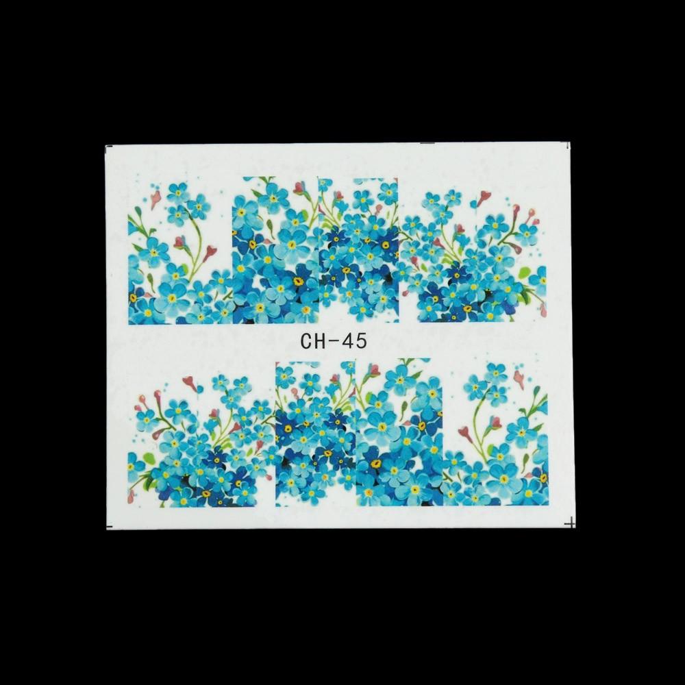 50 Sheets Nail Art Flower Water Transfer Stickers Nail-wraps Nail ...