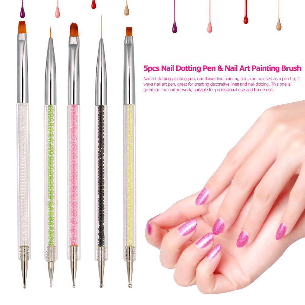 5pcs 2 Ways Nail Dotting Pen Art Painting Line Brush 7 11mm Uv Gel Drawing Nylon Hair Crystal Acrylic Manicure Tool