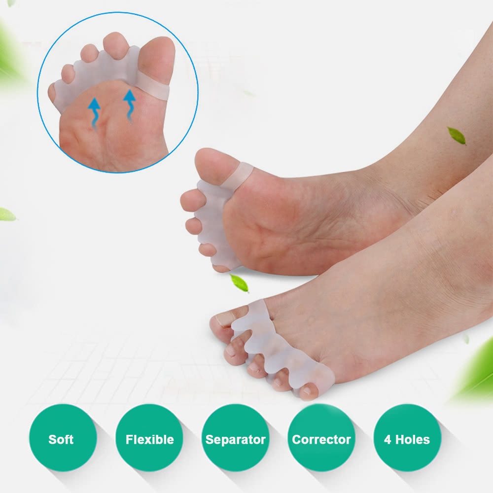 1 Pair Silicone Bunion Hallux Valgus Protector Finger Toe Separator Correction 1pair Foot Fingers Thumb Protect Divider Spreader 4 Holes Guard Feet Care Tool