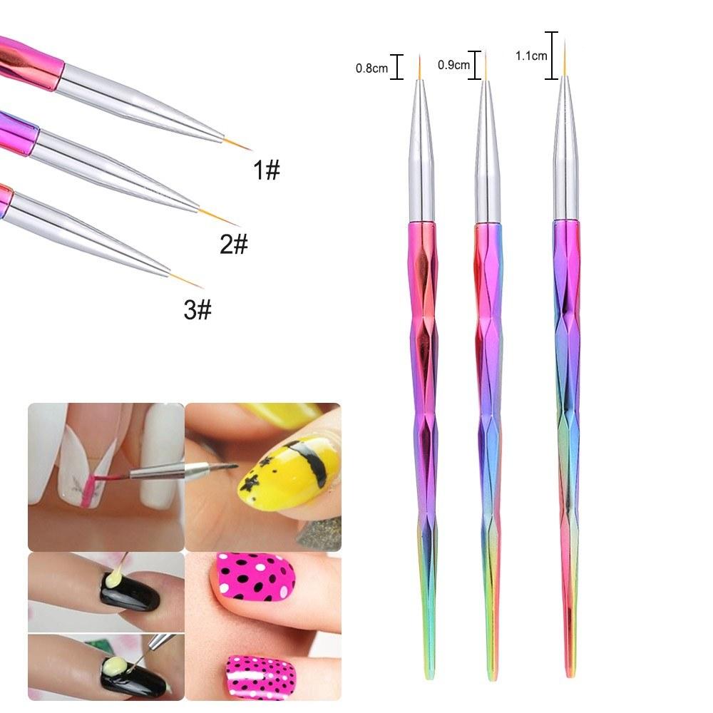 3pcs Nail Art Design Brush Professional Tool Kit Paint Pen For Fake