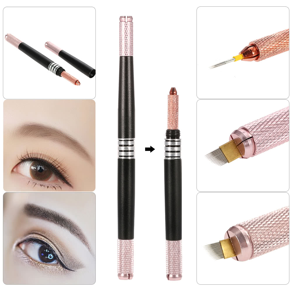 Multifunctional Manual Eyebrow Tattoo Pen Permanent Tattooing Pen Makeup  Cross Shape 3 Effect Embroidery Eyebrow Microblading Pen Needle Lock Red ...