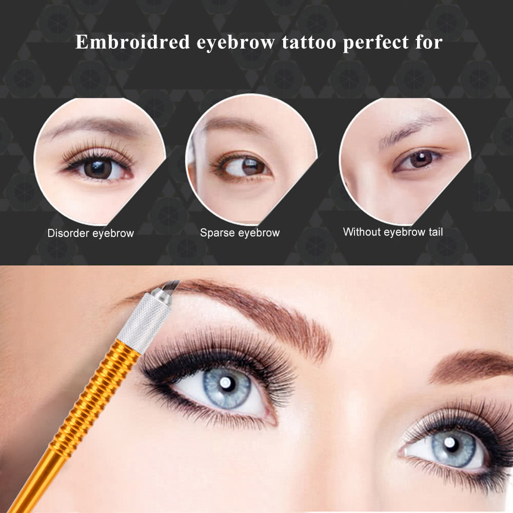 Manual Eyebrow Tattooing Pen + 10pcs 12 Pin Tattooing Needle Permanent  Makeup Microblade Tattooing Embroidery Eyebrow Pencil Golden