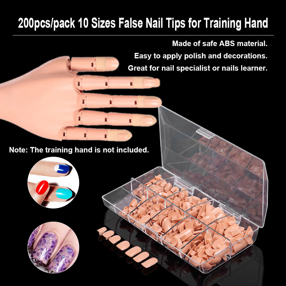 200pcs/pack 10 Sizes False Fake Nails Tips Box for Flexible Practice ...